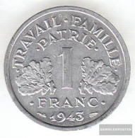 France Km-number. : 902 1944 Extremely Fine Aluminum Extremely Fine 1944 1 Franc Doppelaxt - France