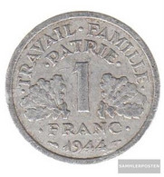 France Km-number. : 902 1944 B Extremely Fine Aluminum Extremely Fine 1944 1 Franc Doppelaxt - France