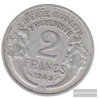 France Km-number. : 886 1946 B Extremely Fine Aluminum Extremely Fine 1946 2 Francs Laureate - France