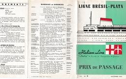 Paquebot Italian Line - Ligne Brésil-Plata 1954 - Genova Napoli Cannes Rio Montevideo Buenos Aires - Livret 14 Pages - Europe