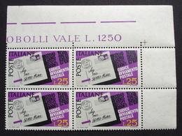 REPUBBLICA ! 1968 ITALIA 25 LIRE CODICE AVVIAMENTO POSTALE QUARTINA MNH** ! 1065 - 6. 1946-.. Republik