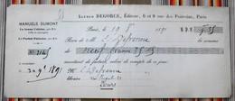75 PARIS 6e Rue De Poitevins MANUELS DUMONT  37 TOURS  1891 - Imprimerie & Papeterie
