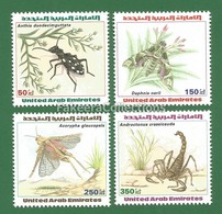 UAE / Arab Emirates / Emirats Arabes 1999 INSECTS 4v MNH ** - Beetle, Moth, Grasshoppers, Scorpions - As Scan - Insekten