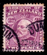 New Zealand 1909 King Edward VII 2d Mauve Used  SG 388 - See Notes - 1907-1947 Dominion