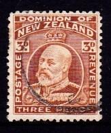 New Zealand 1909 King Edward VII 3d Chestnut Used  SG 389 - - 1907-1947 Dominion