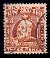 New Zealand 1909 King Edward VII 3d Chestnut Used  SG 389 - 1907-1947 Dominion