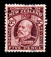 New Zealand 1909 King Edward VII 5d Brown Used  SG 391 - 1907-1947 Dominion