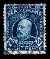 New Zealand 1909 King Edward VII 8d Indigo-blue Used  SG 393 - - 1907-1947 Dominion