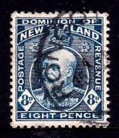New Zealand 1909 King Edward VII 8d Indigo-blue Used  SG 393 - - - 1907-1947 Dominion