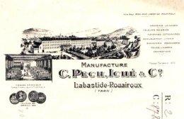 PECH & ICHE   Manufacture  Draperies, Velours, Indiennes   LABASTIDE ROUAIROUX  (Tarn)  Illustration Usine - Bills Of Exchange