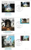 Edifices Religieux - FDC Papeete 1985 & 1986 - Religion Protestante & Catholique - Rurutu Gambiers - FDC