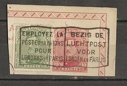 """Belgique -Fragment D'Entier Postal - Cob 138 + Cplt 137 - Flamme """"Employez La Poste Par Avions Pour Londres Et Paris"""" - Marcophilie"""