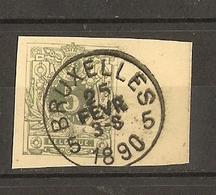 Belgique 25 Fev 1890 - Cachet Bruxelles 5 - Fragment D'Entier Postal - Cob -  45 - Autres