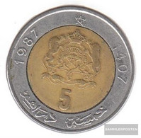 Morocco Km-number. : 82 1987 Extremely Fine Bimetall Extremely Fine 1987 5 Dirhams Crest - Morocco