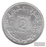Morocco Km-number. : 47 1951 Extremely Fine Aluminum Extremely Fine 1951 2 Francs Star - Morocco