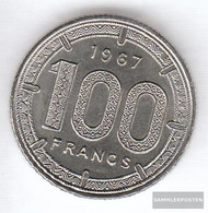 Cameroon Km-number. : 14 1967 Extremely Fine Nickel Extremely Fine 1967 100 Francs Antelope - Cameroon