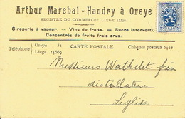 CP Publicitaire OREYE 1933 - Arthur MARCHAL - HAUDRY - Siroperie à Vapeur, Vins De Fruits, Sucre Interverti - Oreye