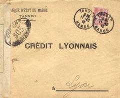 1918- Enveloppe De TANGER Pour Lyon   -censure Française 305 - Marocco (1891-1956)