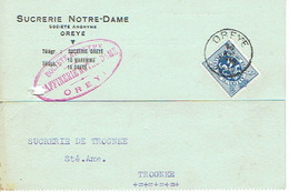 CP Publicitaire OREYE 1932 - SUCRERIE NOTRE-DAME - Oreye