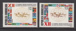 2002 Dominican Republic Iboamerican Summit Flags Drapeau Complete Set Of 2 MNH - Dominican Republic