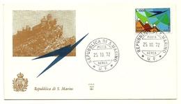 1972 - San Marino PA 150 Aereo Stilizzato - FDC - Castelli