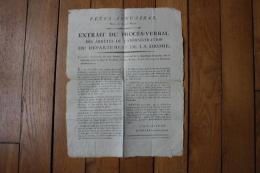 AFFICHE REVOLUTIONNAIRE  DEPARTEMENT DE LA DROME FETES ANNUAIRES - Documents Historiques