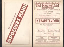 PROGRAMMA KABARETAVOND - STAD HALLE - K.A.J. SINT-ROCHUS-13/1/1963 - RECLAME POEDERS MANN-HET NIEUWSBLAD (OD 488) - Programs