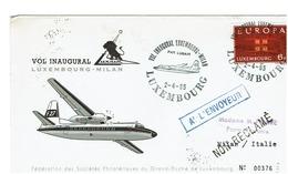 VOL INAUGURAL  LUXEMBOURG- MILAN  2/4/65 - Luftpost