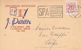 CP Publicitaire SPA 1952 - J. PESESSE - Imprimerie-papeterie - Spa