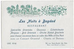 """75 - PARIS  - Restaurant  """" Les Nuits à Bagdad """" - Rue Saint André Des Arts - Carte Commerciale - Alimentaire"""