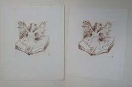2 Ex-libris Illustré XXème (ou Projet) - Belgique Par Tilmans - ANDREWS - P.E. LEVY - Femme Ailée Aux Seins Et Livre - Bookplates