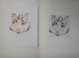 2 Ex-libris Illustrés XXème (ou Projet) - Belgique Par Tilmans - P.E. LEVY - Femme Ailée Aux Seins Et Livre - Bookplates