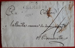19540# MONT BLANC SAVOIE LETTRE AGENCE DES DOMAINES NATIONAUX Obl 84 CHAMBERI 1795 40x12mm CHAMBERY Pour BONNEVILLE - Postmark Collection (Covers)