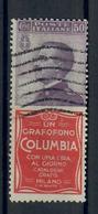 REGNO D'ITALIA - 1924/25 - FRANCOBOLLI PUBBLICITARI - 50 C. VIOLETTO ROSSO COLUMBIA- USATO - USED - 1900-44 Victor Emmanuel III