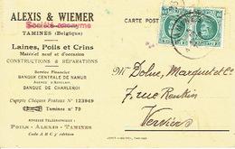 Carte Postale Publicitaire TAMINES 1926 - Entête ALEXIS & WIEMER SA Laines, Poils Et Crins à TAMINES - Sambreville