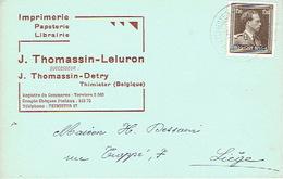 Carte Postale Publicitaire THIMISTER 1954 - J. THOMASSIN - DETRY - Imprimerie-papeterie-librairie - Thimister-Clermont