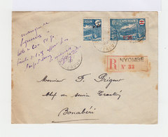 Sur Enveloppe Un Timbre RF Cameroun 1925 27 Surchargé 1f25 Et Un Demi Timbre. CAD Nyombé. (682) - Cameroun (1915-1959)