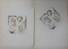 2 Ex-libris Illustrés XXème (ou Projet) - Belgique Par Tilmans - ANDREWS - P.E. LEVY - Femme  Nue Et Livre - Bookplates