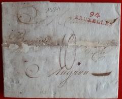 19544# DYLE LETTRE Obl 94 BRUXELLES 1803 33mm ROUGE DEPARTEMENT CONQUIS BELGIQUE BRUSSEL Pour MUGRON LANDES - Storia Postale