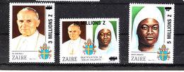 Zaire  -  1993. Papa Woityla E  Suor Anuarite. Pope Woityla Beatifies Sister Anuarite.Complete Overprinted MNH Set - Papi