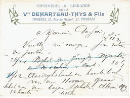 CP/PK Publicitaire TONGEREN 1908 - Vve DEMARTEAU-THYS & Fils - Drukkerij - Boekhandel - Tongeren