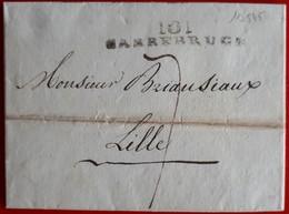 19545# SARRE SAAR LETTRE Obl 101 SARREBRUCK 1812 52mm DEPARTEMENT CONQUIS ALLEMAGNE DEUTSCHLAND SAARBRUCKEN - 1792-1815 : Departamentos Conquistados
