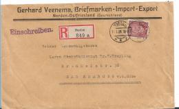 Republik XX035 / 1924-1932) H.v.Stephan, Einzeln Auf Einschreiben Norden (Ostfriesland) 1929, Vignette - Briefe U. Dokumente