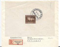 III-Reich XX004 / (1935-1945) Block 4, München-Riem, Braunes Band. Einschreiben Vom Rennplatz N. Tübingen - Briefe U. Dokumente