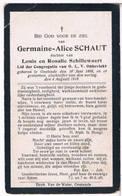 Dp. Oorlogsslachtoffer. Schaut Germaine. ° Oostende 1898 † Oorlogsslachtoffer Van 1918 - Religion & Esotericism