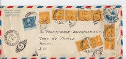 Sur Enveloppe Via Air Mail US Postage 9 Timbres 10 C. Et Un Timbre 5 C. CAD Huuson New York 1935. (684) - 1c. 1918-1940 Lettres