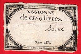 Assignat 5 Livres - BROUT - 10 Brumaire  An 2 - Révolution Française - Assignats & Mandats Territoriaux