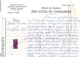 Fiscal, Fiscaux, Extrait De Naissance 1976, Pondichéry état Civil - Fiscaux