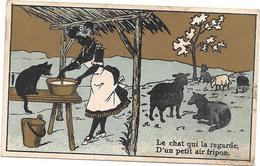 CHROMO CHICOREE Extra A LA BELLE JARDINIERE C BERIOT à LILLE - Le Chat Qui La Regarde......... BARA1 - - Otros