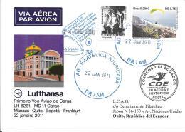 Luftpost Deutschland Lufthansa Erstflug 2011 LH 8261 MD 11 Cargo   Manaus-Quito - Airmail